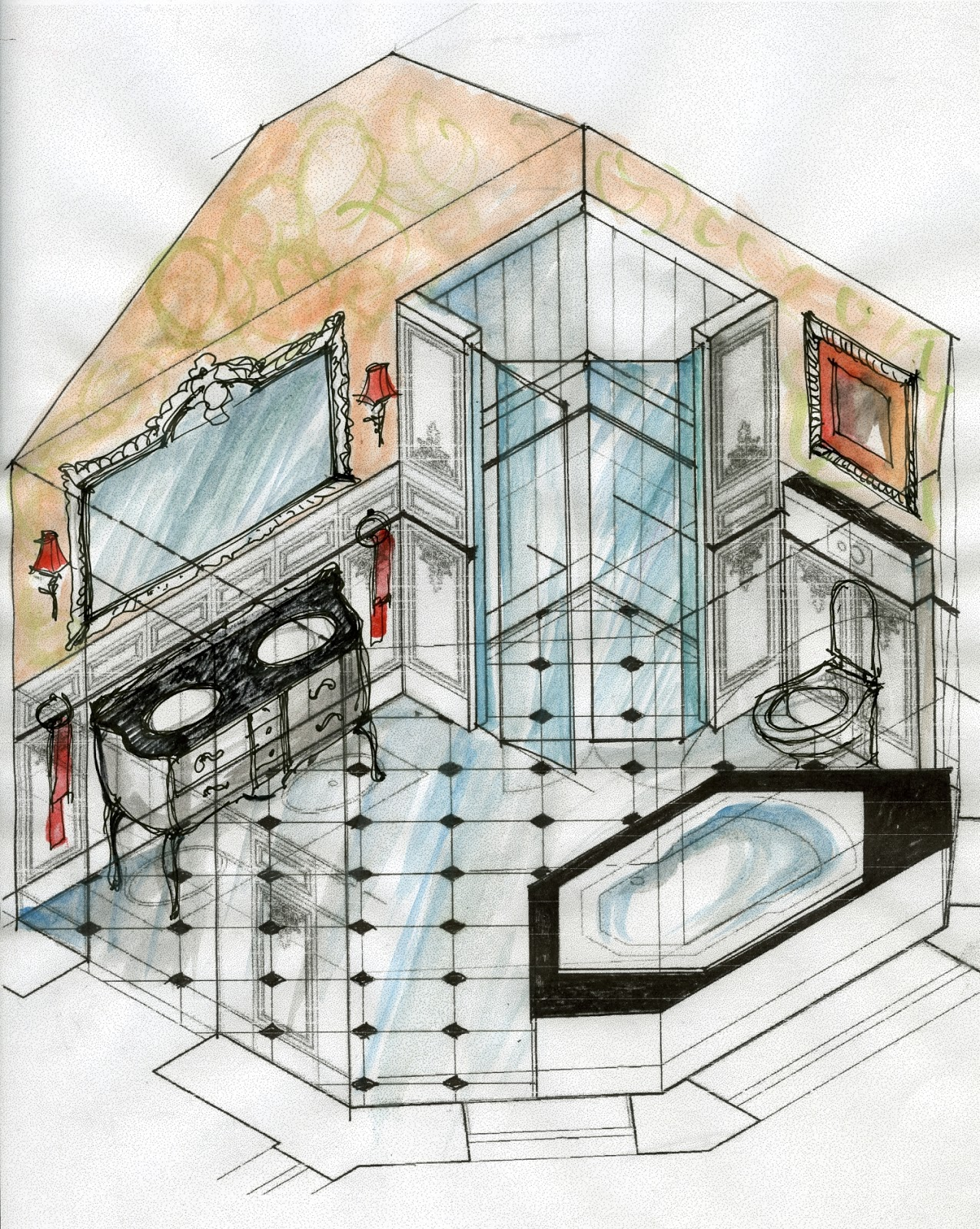 Bathroom sketches interior design for Interior design sketches