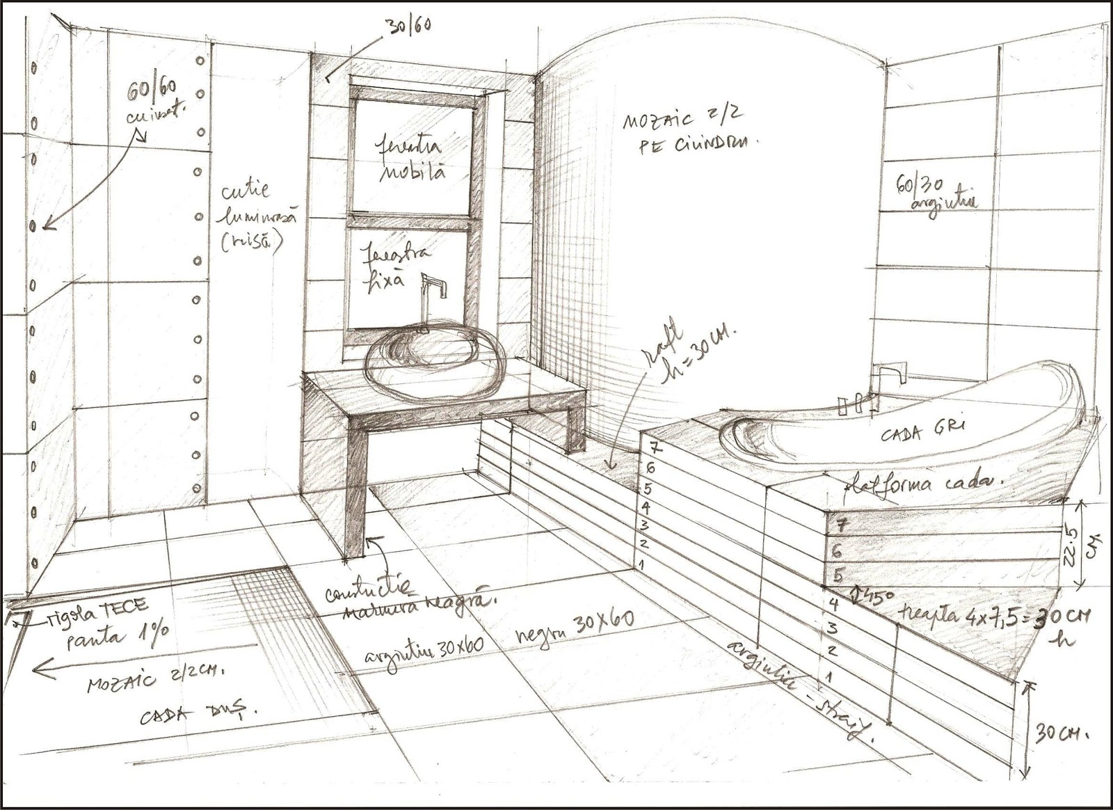 Bathroom sketches interior design for Bathroom designs drawing